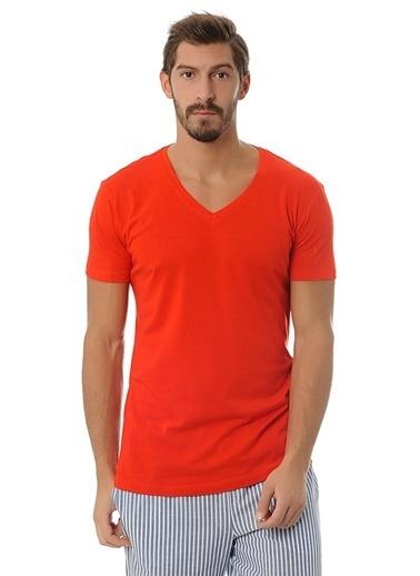 Clarious V Yaka Tişört Kırmızı